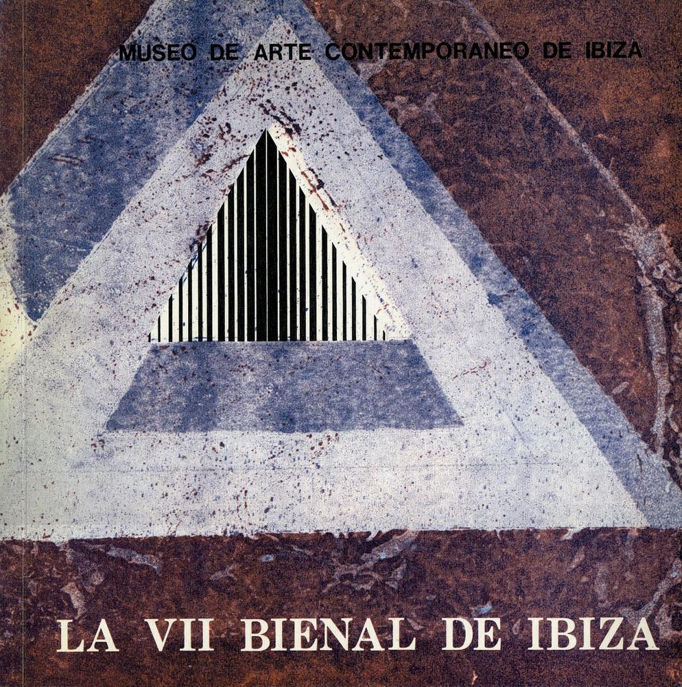 Portada del catàleg de la VII Biennal en el qual es pot veure l´anagrama del Museu d´Art Contemporani d´Eivissa, dissenyat per Ricard Giralt i Miracle.