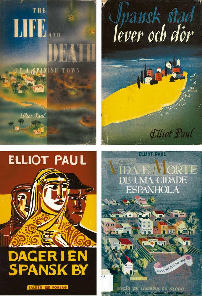Edicions en diverses llengües de l´obra d´Elliot Harold Paul ambientada a Eivissa <em>The Life and Death of a Spanish Town</em> (1937).