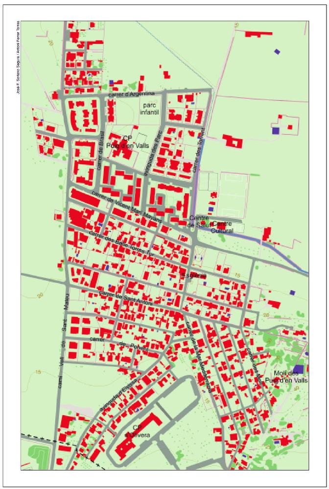 Plànol del nucli urbà des Puig d´en Valls. Elaboració: José F. Soriano Segura / Antoni Ferrer Torres.