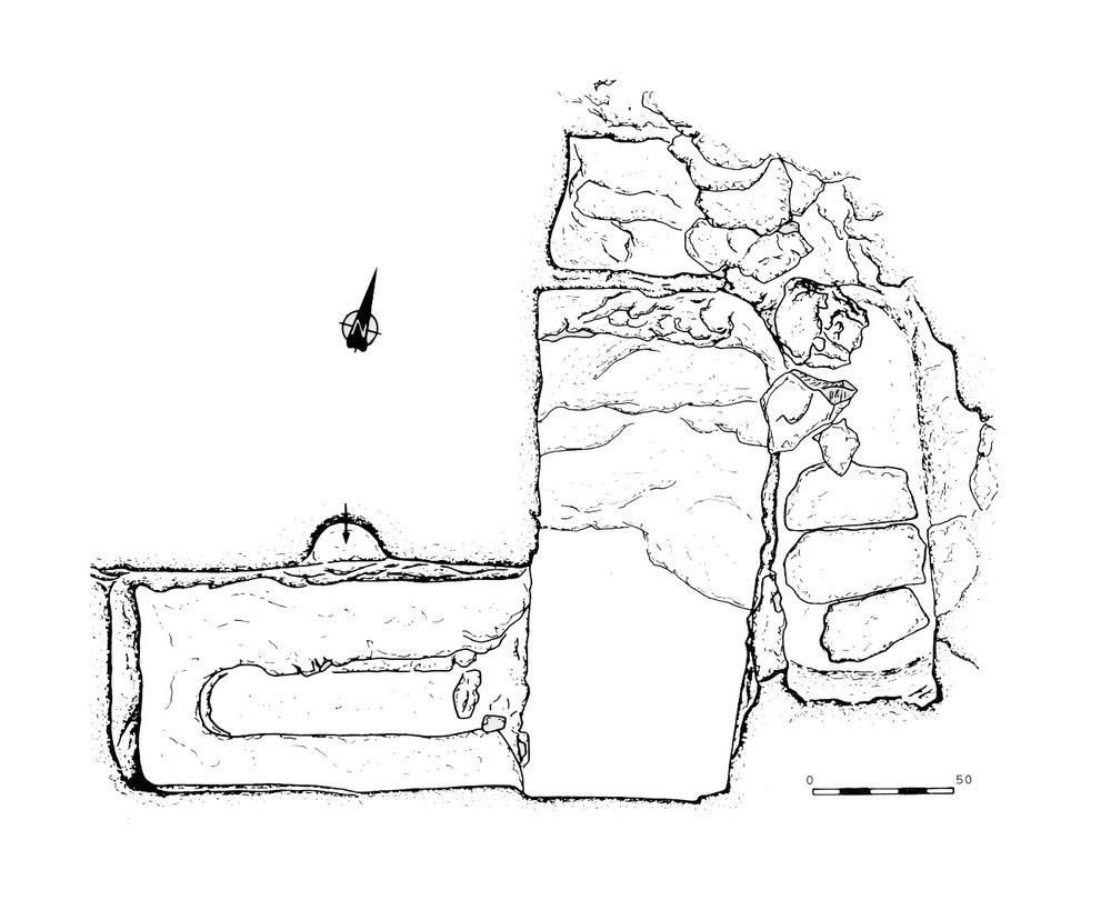Necròpolis del Puig des Molins. Planta de l´hipogeu 5 trobat a can Partit, que talla lateralment i parcial les incineracions 12 i 14. Museu Arqueològic d´Eivissa.