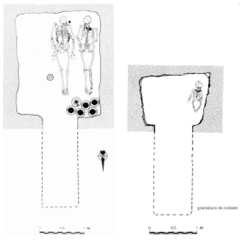 Necròpolis del Puig des Molins. Fase púnica mitjana o clàssica. A l´esquerra, reconstrucció idealitzada de l´hipogeu 18 de la campanya de 1922; a la dreta, reconstrucció d´un hipogeu infantil de la campanya de 1923.