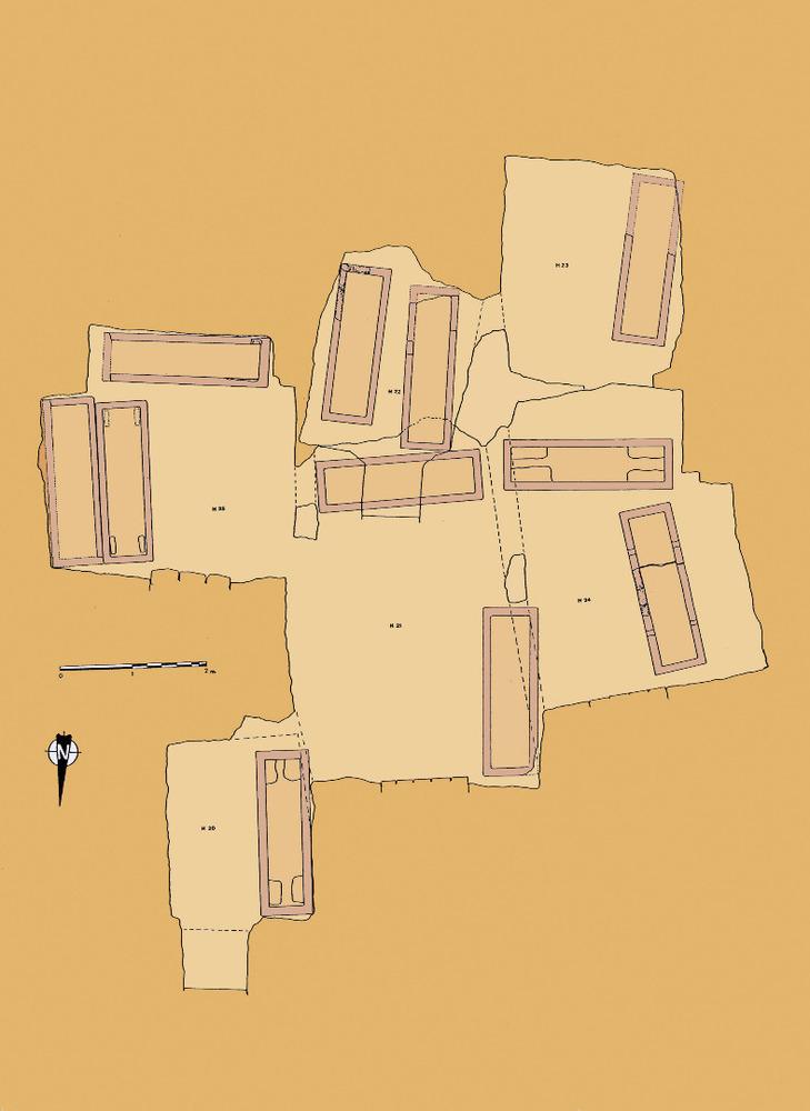 Necròpolis del Puig des Molins. Fase púnica mitjana o clàssica. Planta d´un grup d´hipogeus excavats a la campanya de 1922. Foto: Museu Arqueològic d´Eivissa.