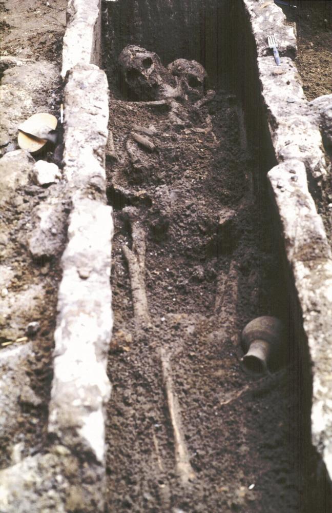 Necròpolis del Puig des Molins. Fase imperial romana final. Una altra mostra d´enterrament en fossa del carrer d´Aragó. Foto: Museu Arqueològic d´Eivissa.