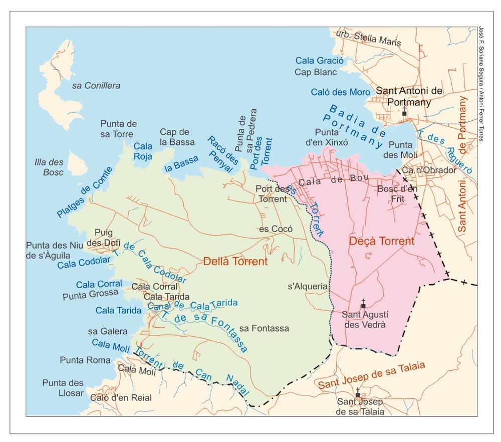 Mapa de les véndes del poble de Sant Agustí des Vedrà. Elaboració: José F. Soriano Segura / Antoni Ferrer Torres.