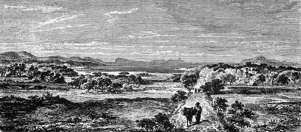 Municipi de Sant Antoni de Portmany. Dibuix del llibre de l´arxiduc Lluís Salvador d´Àustria amb l´antiga carretera i el far de l´illa de sa Conillera, al fons.
