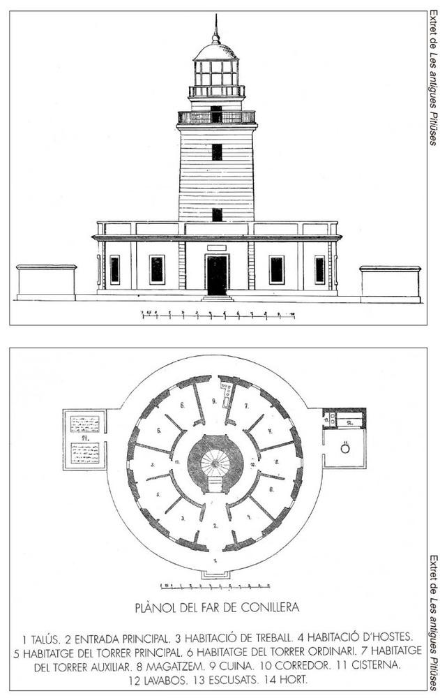 Municipi de Sant Antoni de Portmany. Alçat i planta del far de sa Conillera, segons l´arxiduc Lluís Salvador d´Àustria.