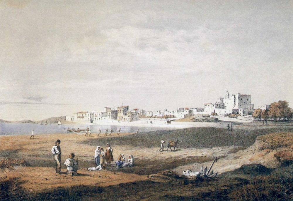 Municipi de Sant Antoni de Portmany. Dibuix del poble, de 1867, del llibre de l´arxiduc Lluís Salvador d´Àustria.