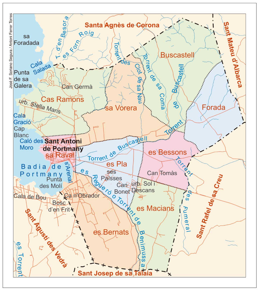 Mapa de les véndes del poble de Sant Antoni de Portmany. Elaboració: José F. Soriano Segura / Antoni Ferrer Torres.