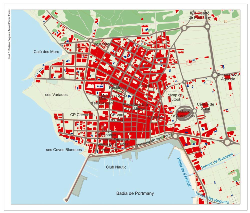 Plànol del nucli urbà del poble de Sant Antoni de Portmany. Elaboració: José F. Soriano Segura / Antoni Ferrer Torres.
