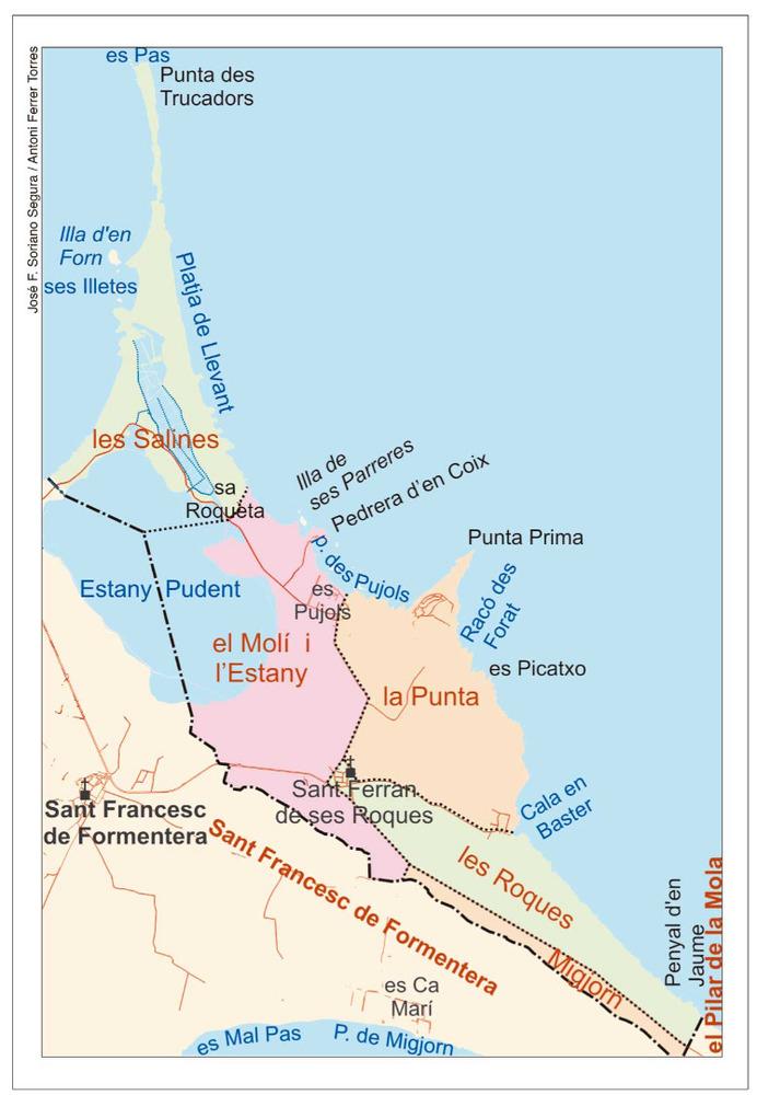 Mapa de les véndes del poble de Sant Ferran de ses Roques. Elaboració: José F. Soriano Segura / Antoni Ferrer Torres.