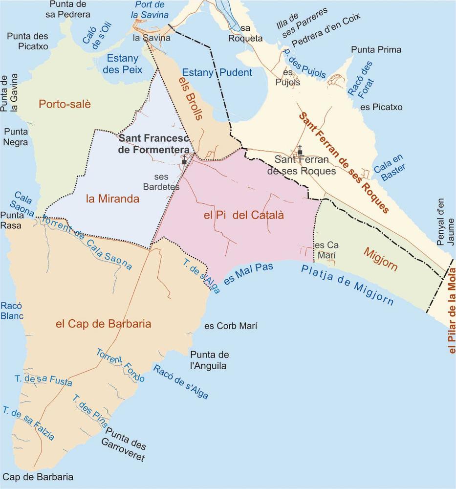 Mapa de les véndes del poble de Sant Francesc Xavier. Elaboració: José F. Soriano Segura / Antoni Ferrer Torres.