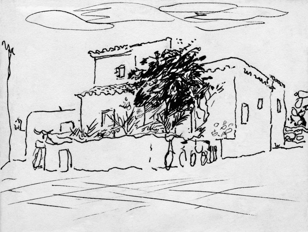Sant Francesc Xavier. Can Toni Guillem, una de les cases més antigues i emblemàtiques del nucli històric del poble, il·lustrada per l´artista francesa Cecile Lemoine (1911-2008), establerta a Formentera des dels anys cinquanta del s. XX.