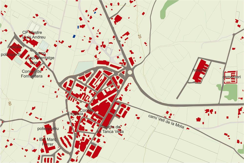 Plànol del nucli urbà de Sant Francesc Xavier. Elaboració: José F. Soriano Segura / Antoni Ferrer Torres.