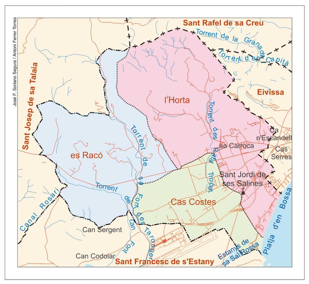 Mapa de les véndes del poble de Sant Jordi de ses Salines. Elaboració: José F. Soriano Segura / Antoni Ferrer Torres.