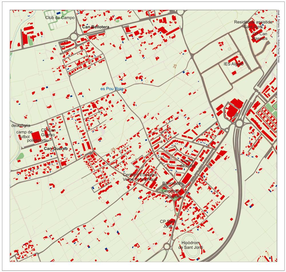 Plànol del nucli urbà de Sant Jordi de ses Salines. Elaboració: José F. Soriano Segura / Antoni Ferrer Torres.