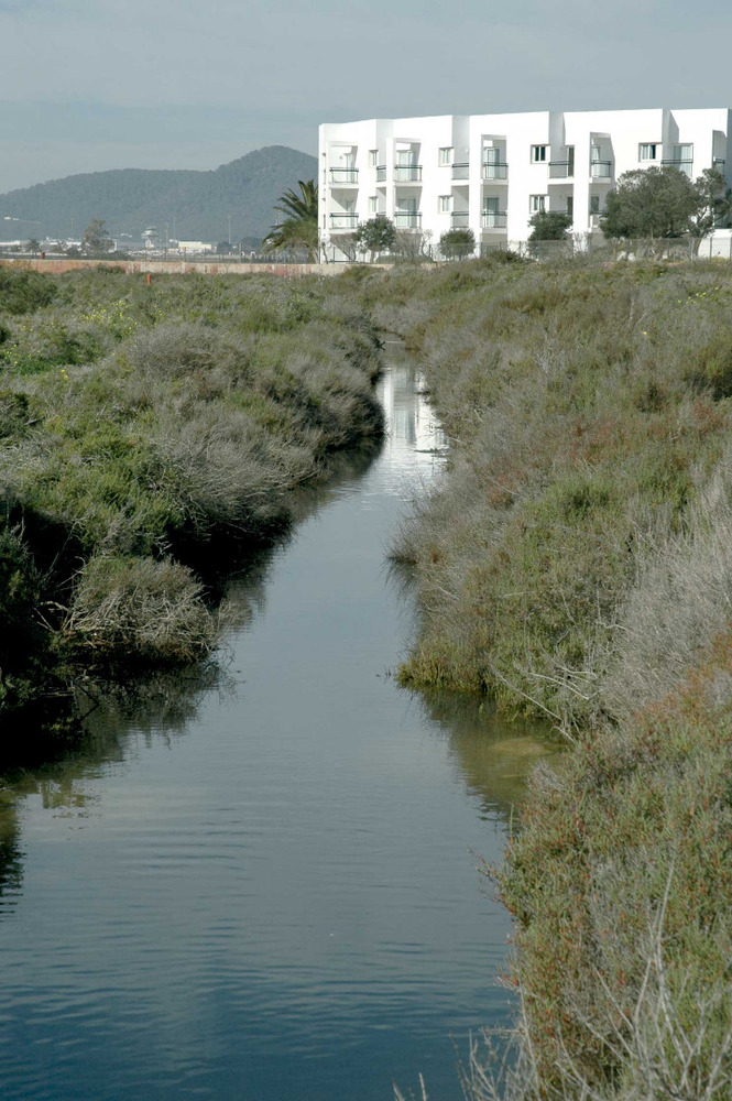 Sant Jordi de ses Salines. El canal de desguàs dels estanys de sa Sal Rossa, a l´extrem S de la platja d´en Bossa. Foto: Chus Adamuz.