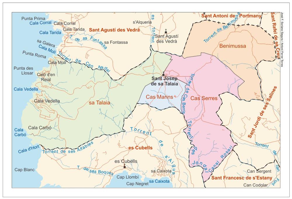 Mapa de les véndes del poble de Sant Josep de sa Talaia. Elaboració: José F. Soriano Segura / Antoni Ferrer Torres.