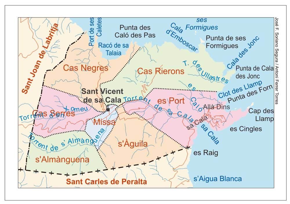 Mapa de les véndes del poble de Sant Vicent de sa Cala. Elaboració: José F. Soriano Segura / Antoni Ferrer Torres.