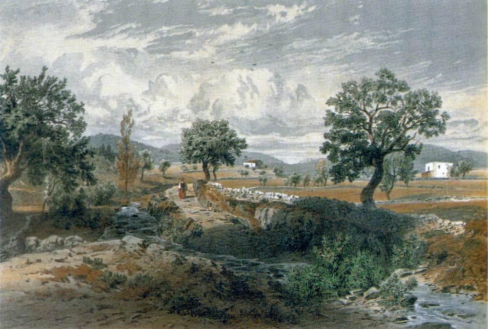 Sant Vicent de sa Cala. Imatge del poble des del torrent de sa Cala, al seu pas per can Toni Negre, segons el gravat de l´arxiduc Lluís Salvador d´Àustria.