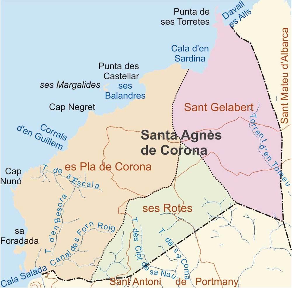 Mapa de les véndes del poble de Santa Agnès de Corona. Elaboració: José F. Soriano Segura / Antoni Ferrer Torres.