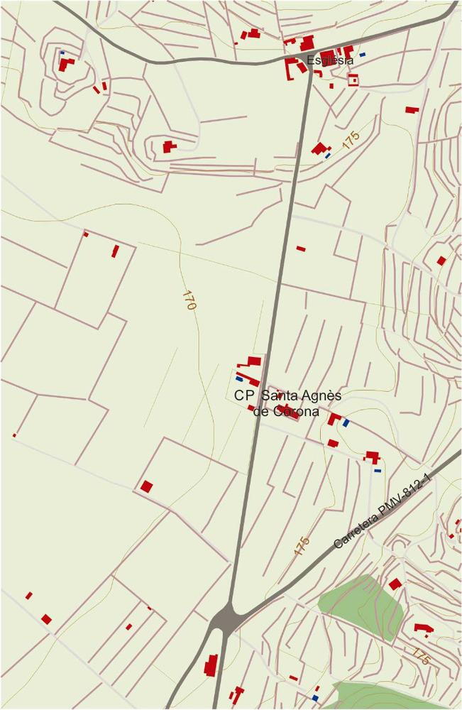 Plànol del nucli urbà de Santa Agnès de Corona. Elaboració: José F. Soriano Segura / Antoni Ferrer Torres.