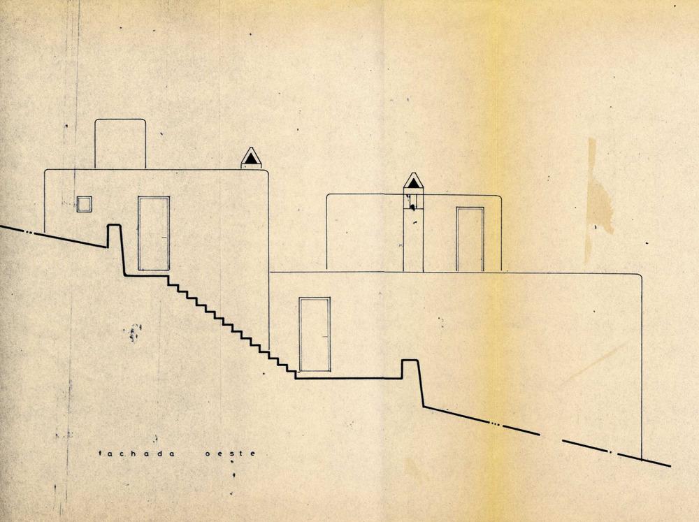 Façana oest de la mateixa casa del cap Martinet, de Josep Lluís Sert i López. Cortesia de l´Ajuntament de Santa Eulària des Riu.