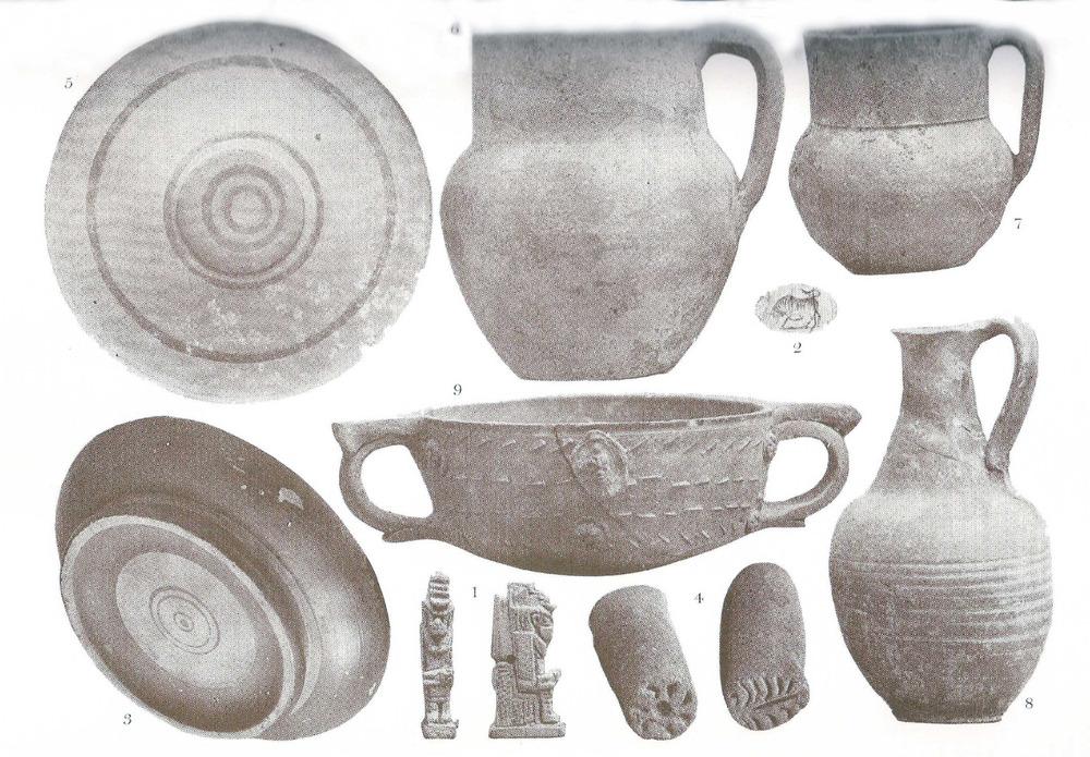 Societat Arqueològica Ebusitana. Diversos objectes procedents de la necròpolis del Puig des Molins i alghuns trobats a Formentera.