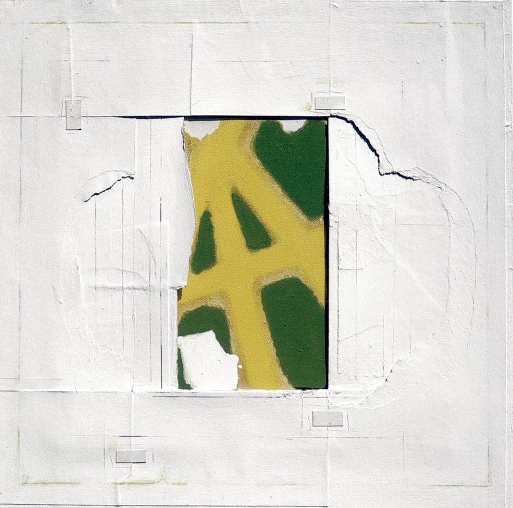 Rafel Tur Costa. <em>Sense t&iacute;tol</em>, collage damunt tela (1994), 60 x 60 cm. Foto: Sonya Torres Planells.