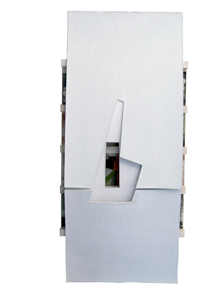 <em>Sense títol</em> (2004), tècnica mixta damunt fusta, 82 x 34 x 7 cm, obra de Rafel Tur Costa. Col·lecció de Rafel Tur Costa.