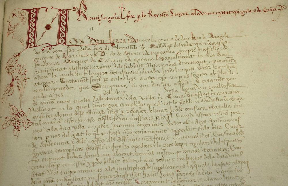 Fragment del <em>Llibre de la Cadena</em> en el qual Ferran el Cat&ograve;lic (1507) remet importants documents de la Universitat d´Eivissa. Cortesia de l´Arxiu Hist&ograve;ric Municipal d´Eivissa.
