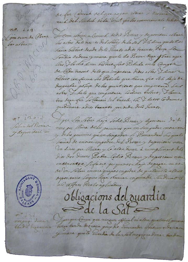 Fragment de les ordinacions de 1663 que modificaren substancialment el funcionament de la Universitat d´Eivissa i suposaren una important reforma política. Cortesia de l´Arxiu Històric Municipal d´Eivissa.