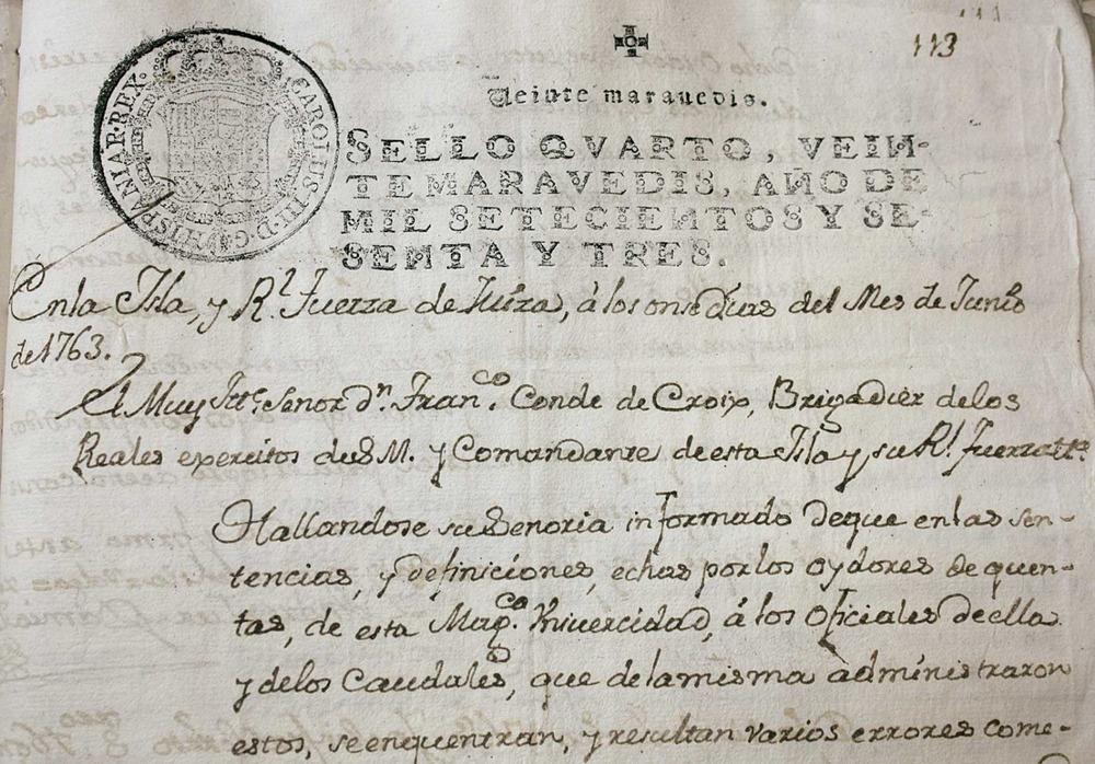 Escrit de juny de 1763 deel secretari de l´Ajuntament, on encara utilitza la forma <em>Magn&iacute;fica Universitat</em>, molts anys despr&eacute;s de la promulgaci&oacute; del Decret de Nova Planta (<em>Llibre de regidoria</em> 1762-63). Cortesia de l´Arxiu Hist&ograve;ric Municipal d´Eivissa.