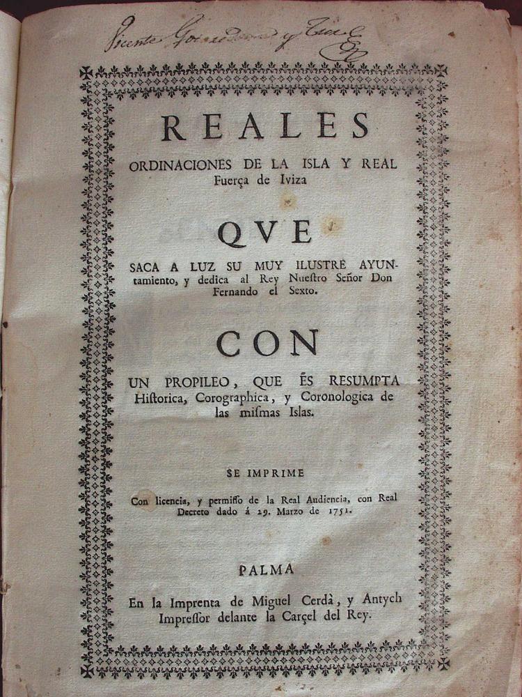 Universitat d´Eivissa. Portada de les Reials ordinacions de 1751.