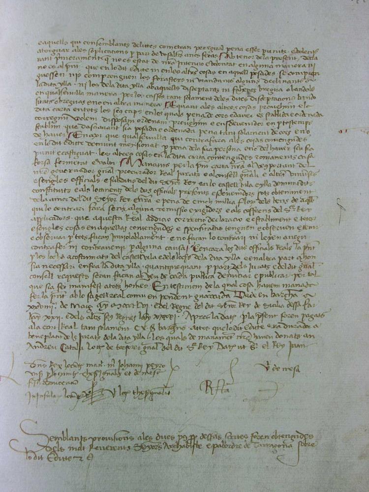 Fragment del <em>Llibre de la Cadena</em> on s´explicita el regiment de sac i sort de la Universitat d´Eivissa. Cortesia de l´Arxiu Hist&ograve;ric Municipal d´Eivissa.