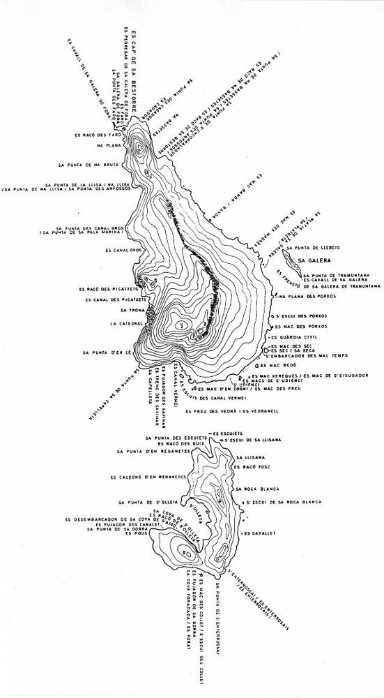 Es Vedrà. Planimetria de Cosme Aguiló d´aquesta illa de la costa del municipi de Sant Josep de sa Talaia.