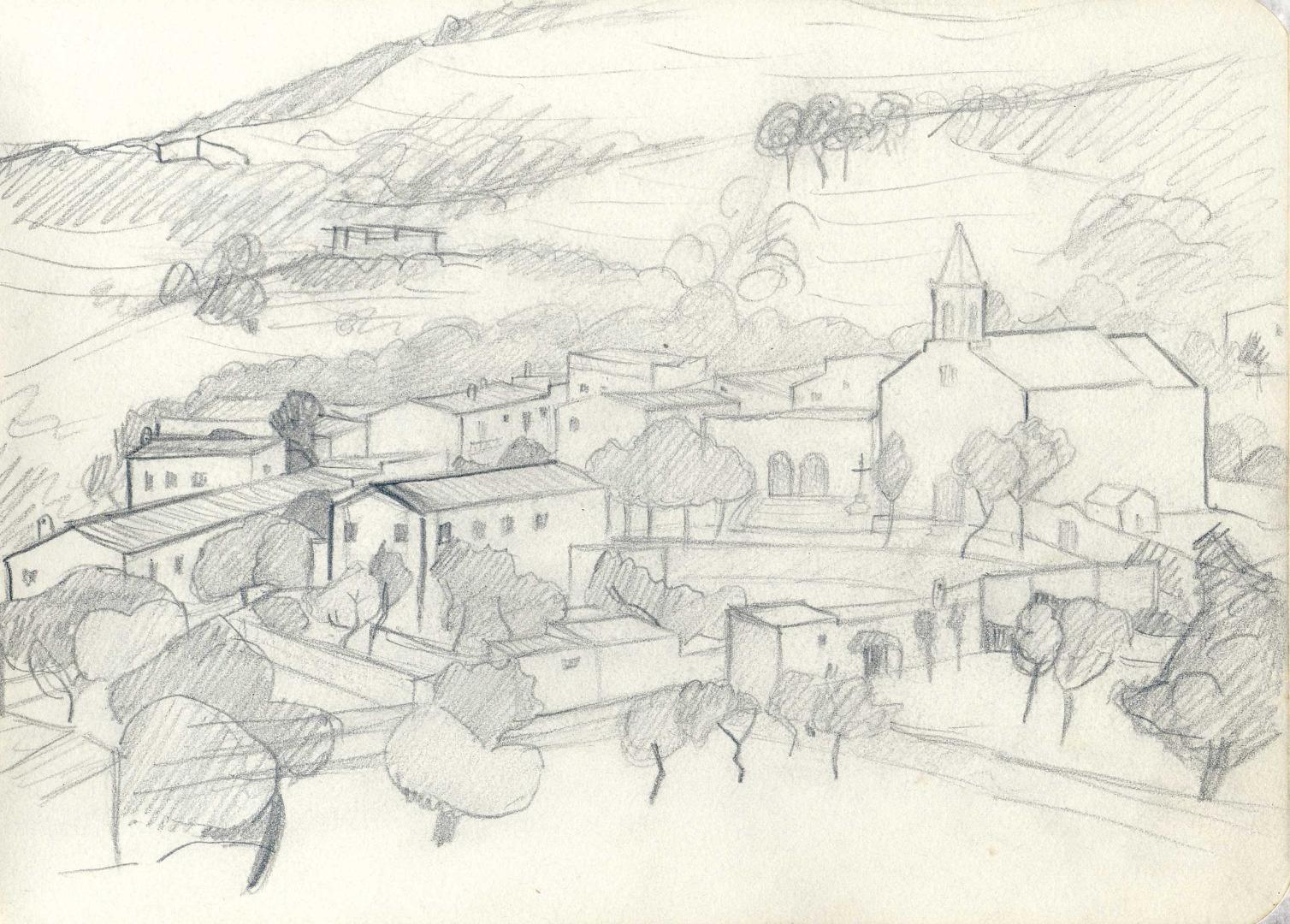 Marià Villangómez Llobet va fer aquest dibuix del poble de Sant Joan de Labritja.