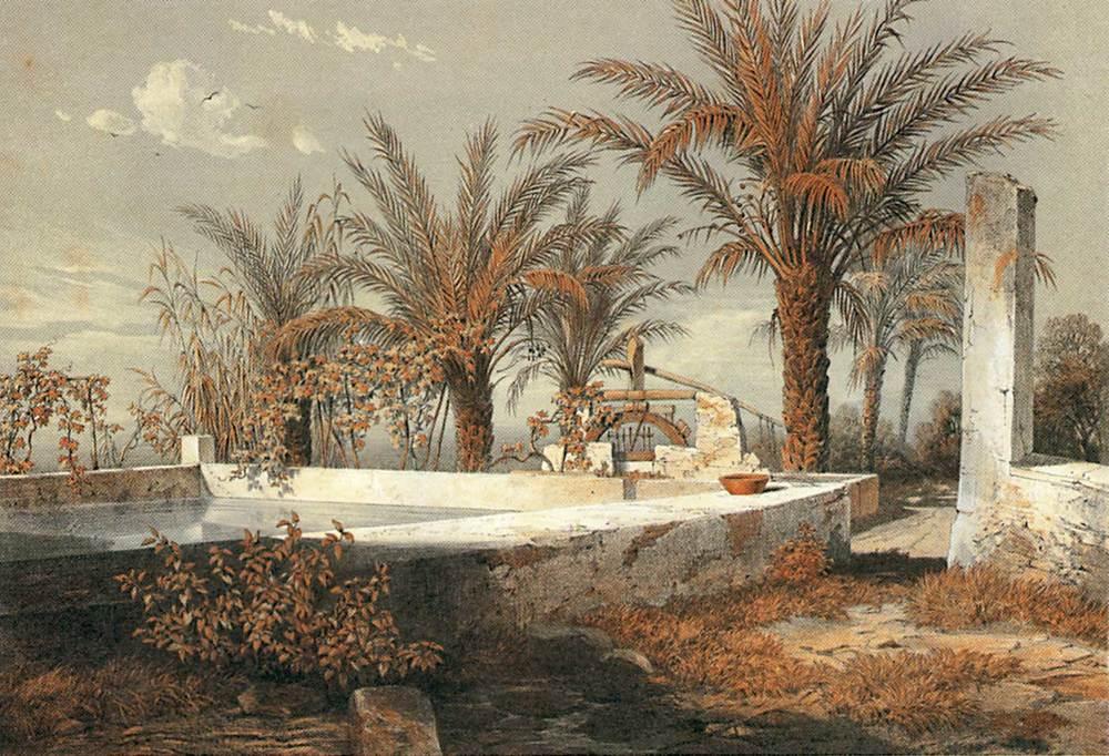 Agricultura. Una sènia eivissenca dibuixada per l´arxiduc Lluís Salvador, el segle XIX, prop de Vila.