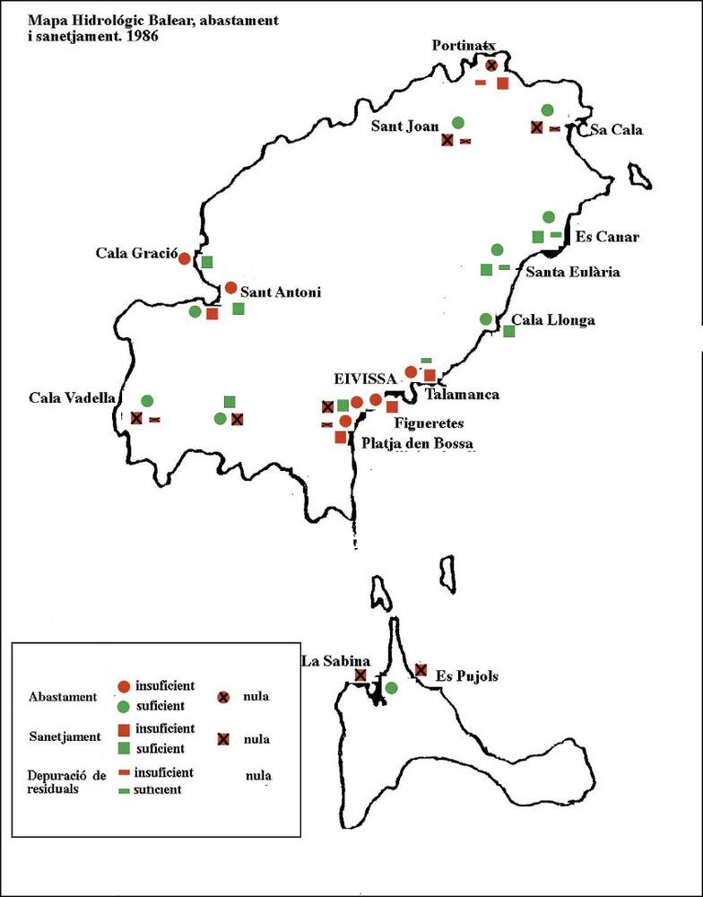 Aigua. Mapa Hidrològic Balear. Abastament i sanejament. 1986. Conselleria d´Obres Públiques i Ordenació del Territori. Servei Hidràulic.