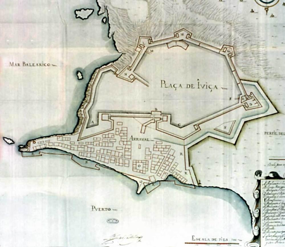 Arquitectura. Plànol del s. XVII on apareix el recinte renaixentista i la proposta de tancament del barri extramurs de la ciutat.