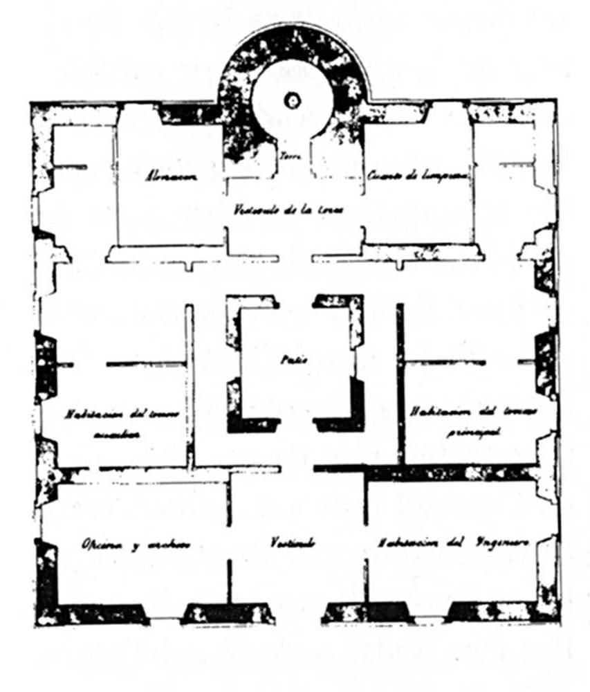 Arquitectura. Planta del far de la punta Grossa, segons el projecte d´Emili Pou (1861).