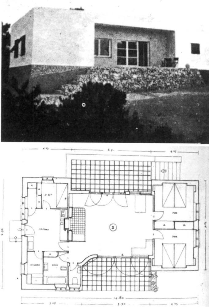 Influència de l´arquitectura rural eivissenca en la planta d´una casa. Projecte de l´arquitecte Germà Rodríguez Arias (1934).