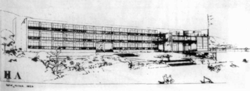 Arquitectura. Projecte de Sert i Torres Clav&eacute; d´un hotel a Talamanca (1935). Extret d&acute;<em>Arquitecturas en Ibiza</em>.