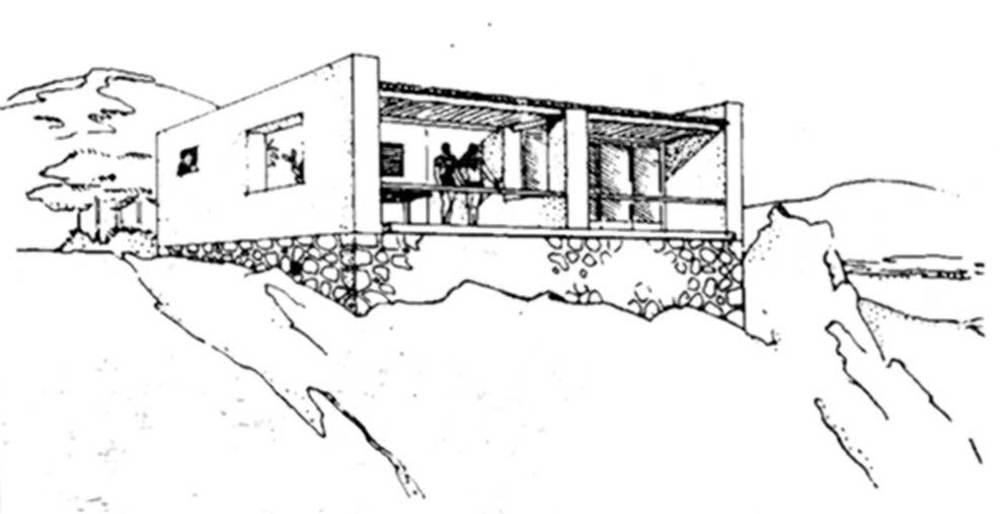 Una perspectiva d´un xalet (1935) de J. L. Sert, on s´aprecia la influ&egrave;ncia de l´arquitectura rural. Extret d´<em>Arquitecturas en Ibiza</em>.