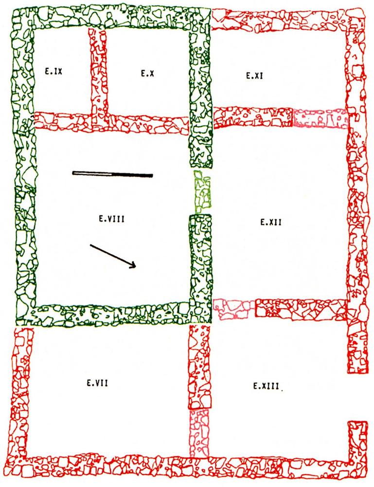 Arquitectura. Sa Caleta. Unitat arquitectònica amb set dependències. Estructura de la primera fase, en color verd. Ampliacions i compartimentacions de la segona fase, en color vermell. En tonalitats més clares, sòcols de les portes de comunicació interior. Segona meitat del s. VII aC. Elaboració: Joan Ramon Torres.