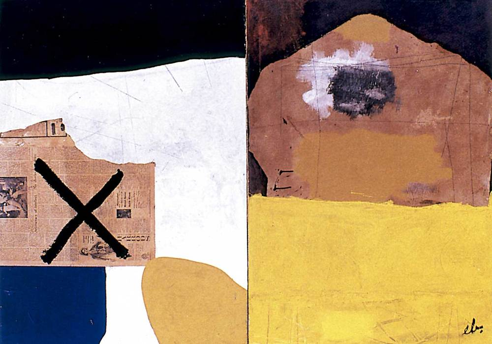 Art. <em>Díptic</em>, d´Erwin Broner (1965). Acrílic i collage sobre tela, 130 x 180 cm. Col·lecció Gisela Broner.