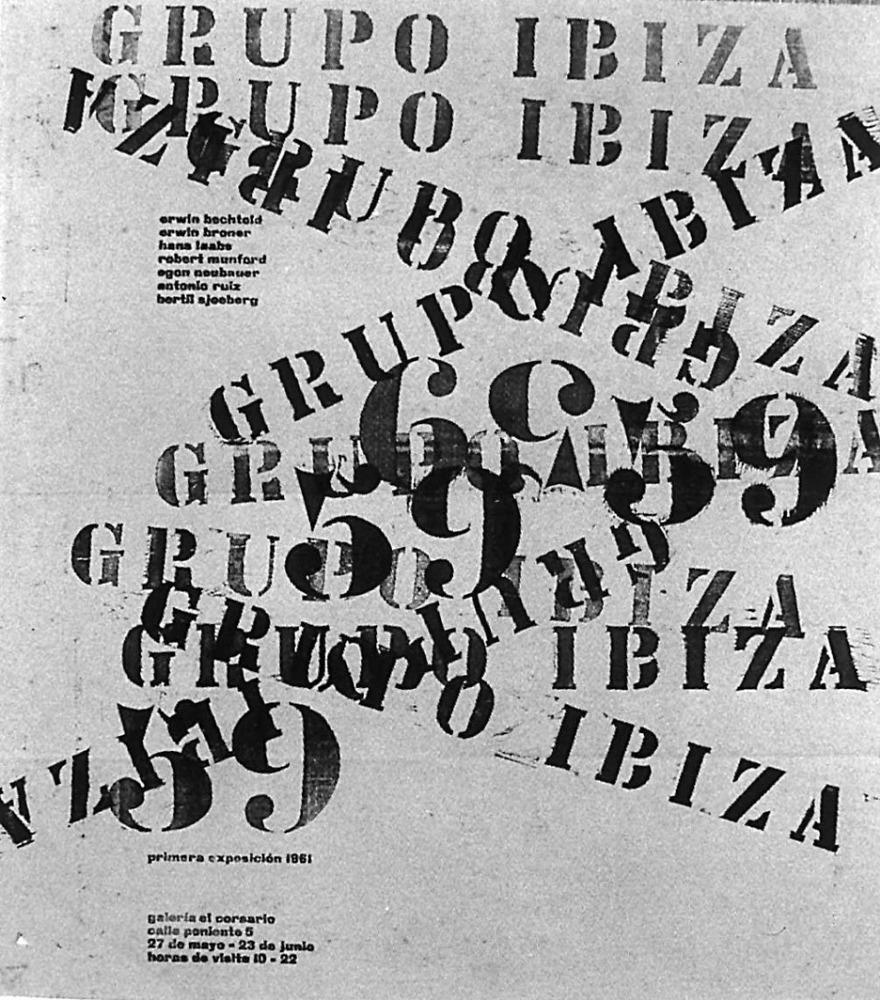 Art. Cartell del Grup Ibiza 59 (1961). Tinta sobre paper, 64 x 56 cm. Extret de <em>Grup Ibiza 59, passat i present</em>.