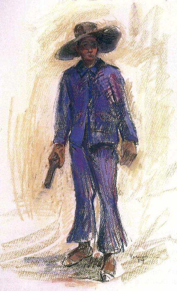 Un pagès amb calçons amples, acampanats, possiblement de negrilla, segons un dibuix d´Antoni Pomar. Cortesia de l´Ajuntament d´Eivissa.