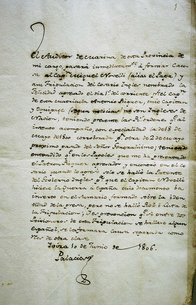 """Cors. Document relacionat amb la presa d´""""El Papa"""". Ajuntament d´Eivissa / Arxiu Històric Municipal."""