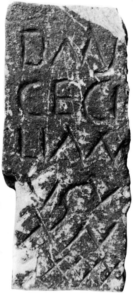 Epigrafia. Làpida amb inscripció romana de tipus funerari de caràcter arcaic trobada a l´avinguda d´Espanya. Extret d´<em>Epigrafia romana de Ebusus</em>.