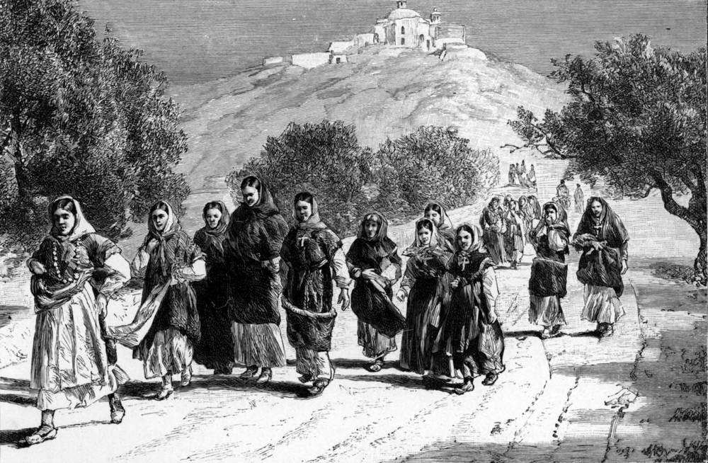 Geografia. Gravat de Gaston Vuillier, amb el puig de Missa de Santa Eulària al fons. Extret de <em>The Forgotten Isles</em>.